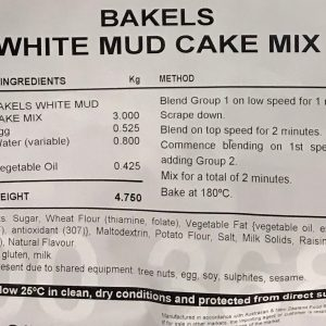 Bakels White Mud Cake Mix