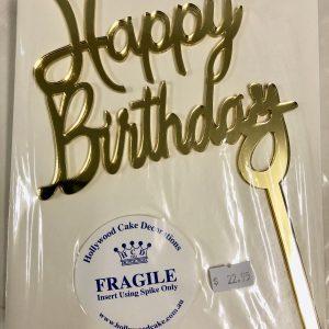 """Happy Birthday"" Topper Gold"