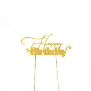 """Happy Birthday"" Gold Metal Topper"