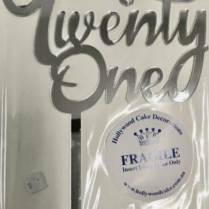 """""""Twenty One"""" Acrylic Cake Topper"""