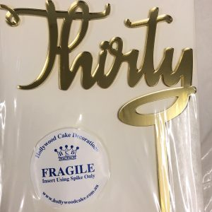 """""""Thirty"""" Acrylic Topper (Gold)"""
